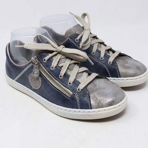 Rieker Blue Silver Metallic Leather Sneakers